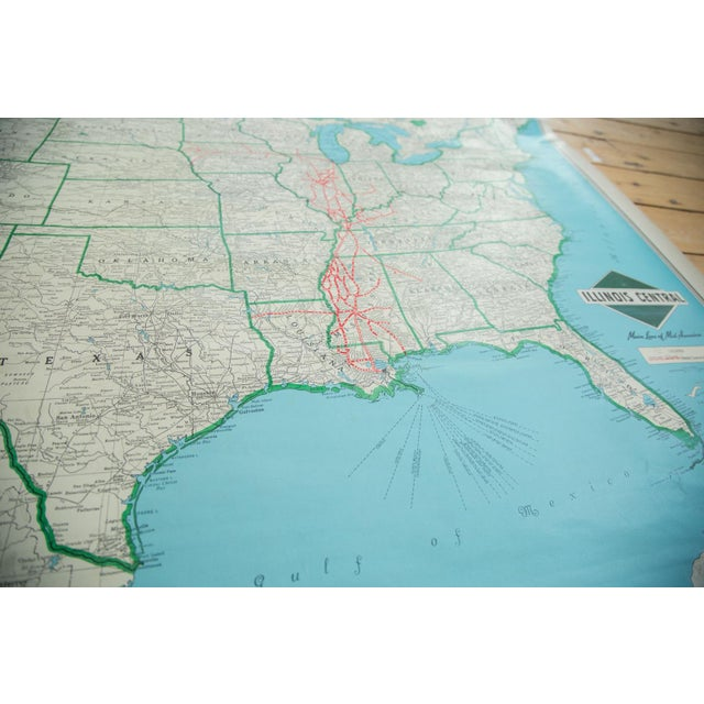 Blue Vintage Illinois Central Railroad Pull Down Map For Sale - Image 8 of 12