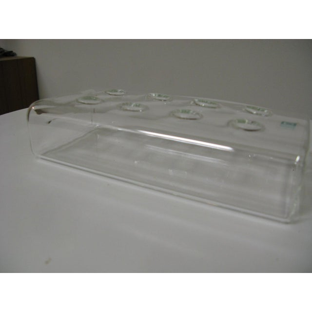 1990s Chive Rectangular Glass Flower Vase/Frog For Sale - Image 9 of 12