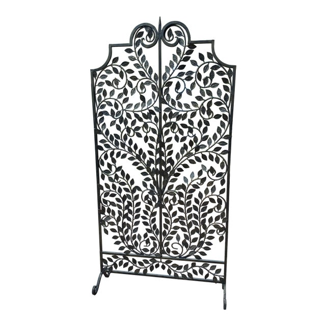 Wrought Iron Handmade Forged Metal Scroll Panel Screen Divider For Sale