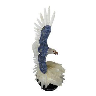 Soaring Eagle in White Quartz and Lapis For Sale
