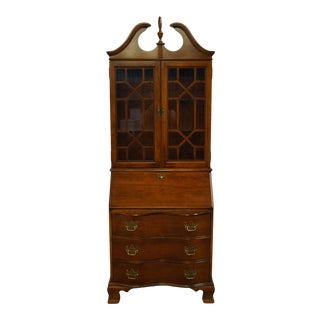 Traditional Jasper Cabinet Solid Cherry Secretary Desk With Display Bookcase For Sale