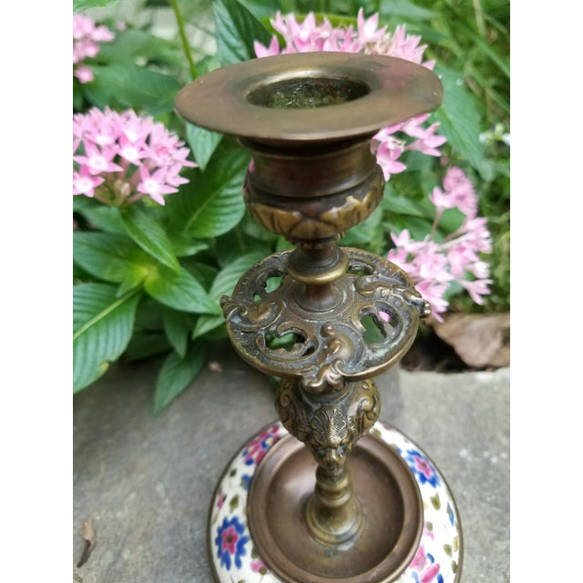 Continental Bronze & Porcelain Candlestick - Image 5 of 9