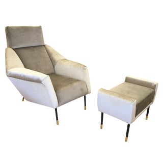 Sculptural Mid-Century Lounge Chair with Foot Stool