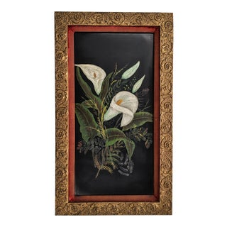 Antique 19th Century Lilies Painted on Black Wood Panel With Red Velvet and Gold Frame