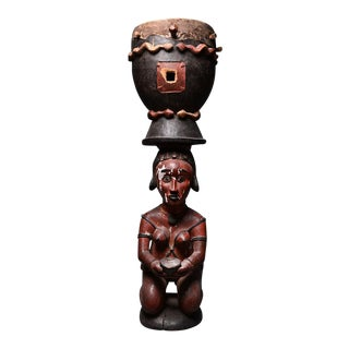 Baga Wooden Polychrome Drum For Sale