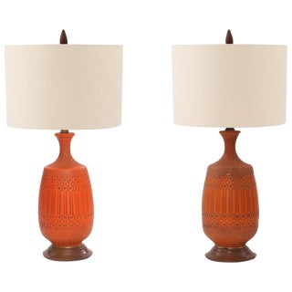 Pair of Glazed Ceramic and Walnut Table Lamps For Sale