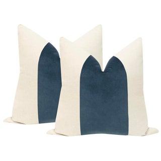 "22"" Prussian Blue Velvet Panel & Linen Pillows - a Pair For Sale"