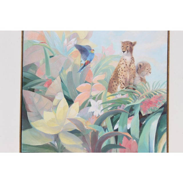1980s Art Deco Style Monumental Massive Art Painting of Tropical Cheetah For Sale - Image 5 of 9