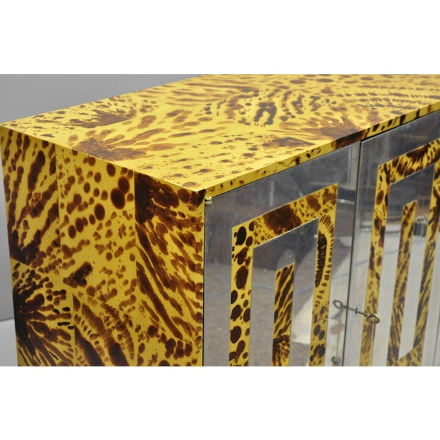 Mid-Century Modern Mid Century Milo Baughman Chrome Greek Key Oil Drop Lacquer Credenza For Sale - Image 3 of 12