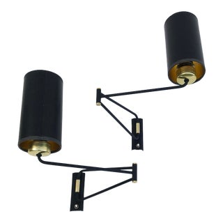 1960s Vintage Rene Mathieu Swing Arm Sconces - A Pair For Sale