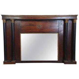 19th Century French Empire Mahogany Wall Mirror With Original Mercury Mirror For Sale