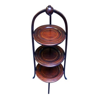 English Mahogany Muffin Stand For Sale