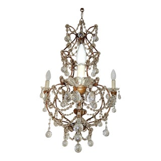 French Murano Drops Crystal Prisms Chandelier For Sale