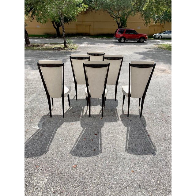 1940s 1940s Vintage French Art Deco Solid Mahogany Dining Chairs- Set of 6 For Sale - Image 5 of 12