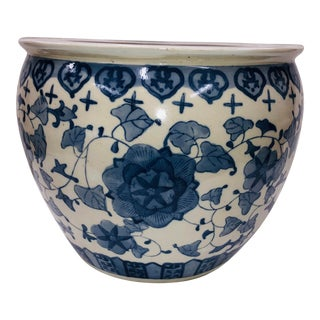 1980s Chinoiserie Blue and White Planter For Sale
