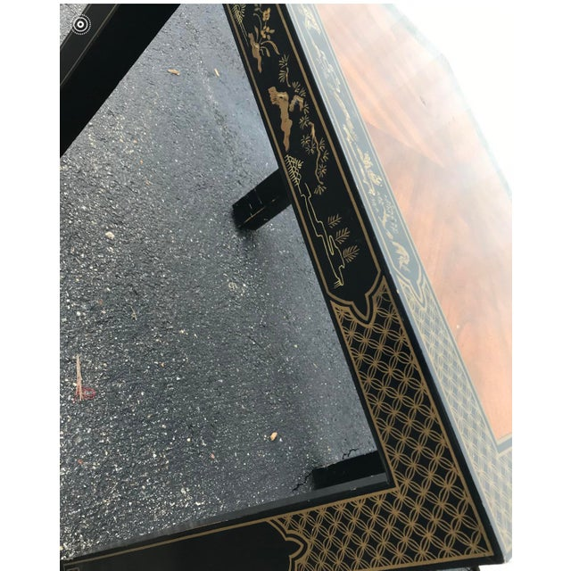 Drexel Heritage Drexel Heritage Etc Cetera Chinoiserie Parsons Tables a Pair For Sale - Image 4 of 7
