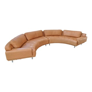 Contemporary Modern Leather Curved 2-Piece Sofa Set by Elite Leather Company For Sale