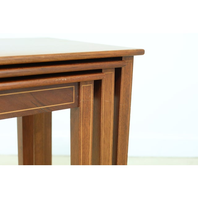 1960s Biggs 3 Piece Inlaid Mahogany Nesting Stack Tables For Sale - Image 5 of 10