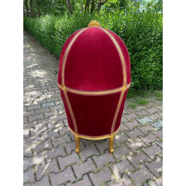 French Dark Red Tufted Throne Children Size Balloon Chair. For Sale - Image 4 of 10
