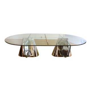 Two Brueton Pinnacle Table Bases Designed by Jay Wade Beam with Custom Glass Demilune Tops
