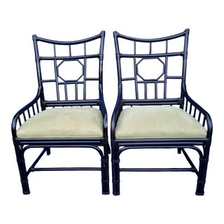Palecek Faux Bamboo and Suede Asian Style Chairs- A Pair For Sale