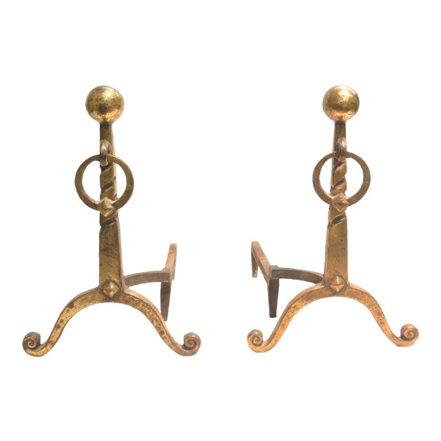 Pair of French Art Déco Andirons For Sale