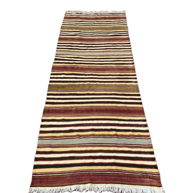 Vintage Striped Turkish Kilim Runner Rug For Sale