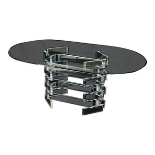 Racetrack Oval Glass Top Stacked Lucite Blocks Base Dining Table For Sale