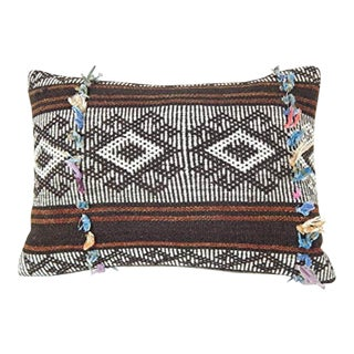 Cushion Cover or Pillow Fashioned From a Midcentury Turkish Goat Hair Kilim 14'' X 20'' (35 X 50 Cm) For Sale