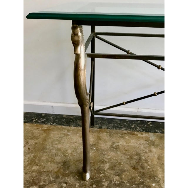 Vintage Glass and Brass Italian Console Table with Seahorse Motif For Sale - Image 4 of 8