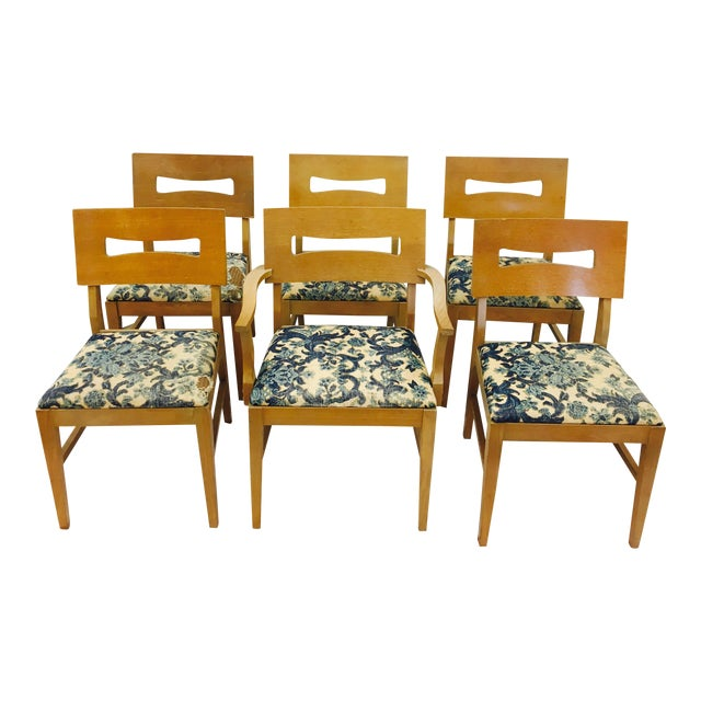 Vintage Mid-Century Modern Square Back Wooden Dining Chairs - Set of 6 For Sale