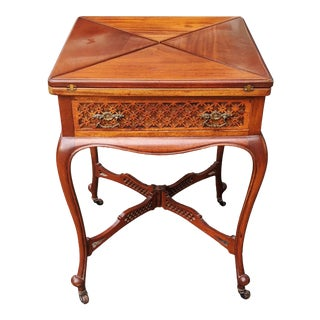 Antique English Regency Carved Mahogany & Leather Envelope Card Game Table For Sale