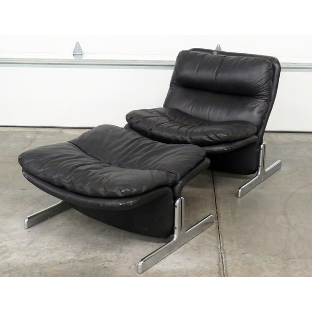 1970s Mid-Century Modern Ammanti & Vitelli Leather Chair and Ottoman - 2 Pieces For Sale - Image 9 of 9