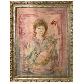 American Edna Hibel Oil on Silk Painting on Lithograph of a Young Woman With a Mandolin For Sale