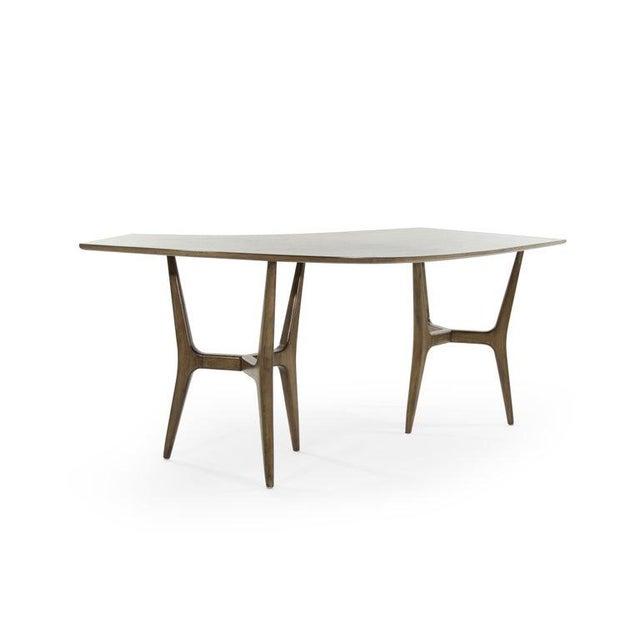 Wood Mid-Century Modern Asymmetrical Walnut Desk For Sale - Image 7 of 13