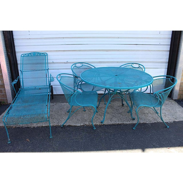 Mid Century Modern Aqua Blue Wrought Iron Patio Set With Lounge on Wheels For Sale - Image 9 of 13