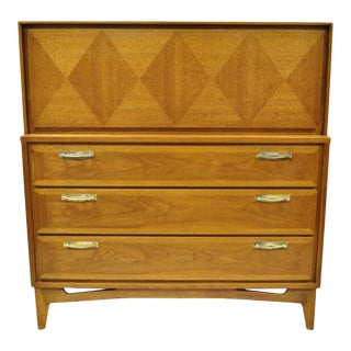 Vintage Mid Century Modern Diamond Inlay Walnut Chest Dresser by Red Lion For Sale
