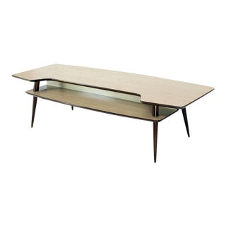 1970s Italian Modern Step Coffee Table With Shelf For Sale