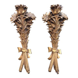 Gilded Plaster Floral Sconces - a Pair For Sale