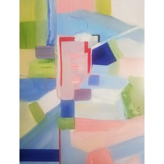 """""""Sloane Square"""" is an abstract contemporary painting with the actual Sloane Square in London in mind. The blues, pinks,..."""