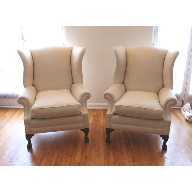 Pair of Monumental Damask Wing Chairs - Image 3 of 6