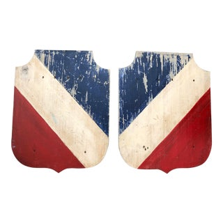 French Blue Red & White Wood Flag Holders, A-Pair For Sale