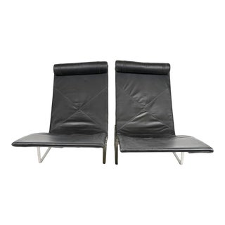 Pair of Contemporary Steel & Leather Lounge Chairs For Sale