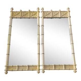 1960s Hollywood Regency Drexel Kensington Faux Bamboo Mirrors - a Pair For Sale