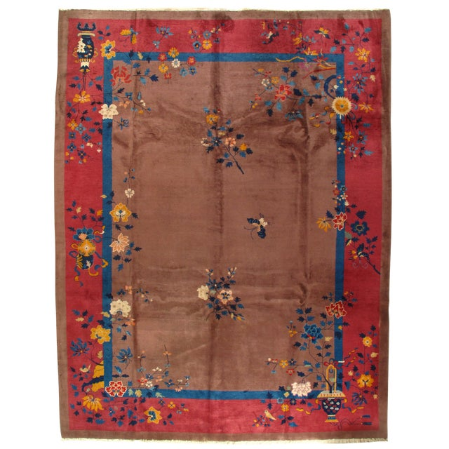 Early 20th Century Antique Chinese Art Deco Area Rug - 9′ × 11′7″ For Sale