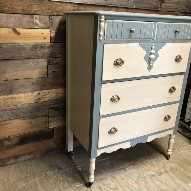 1930s Shabby Chic Two-Toned Chest of Drawers   Chairish