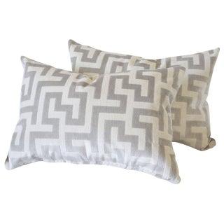 Custom Velvet and Linen Decorative Lumbar Pillows For Sale