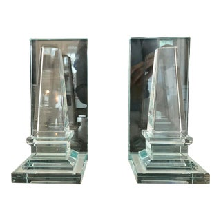 Hollywood Regency Glass Bookends - a Pair For Sale