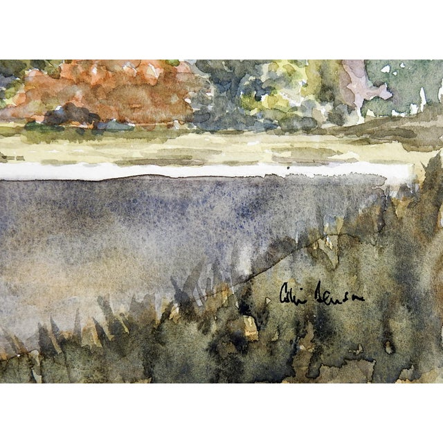 Contemporary Lakeside Landscape Watercolor Painting For Sale - Image 3 of 4