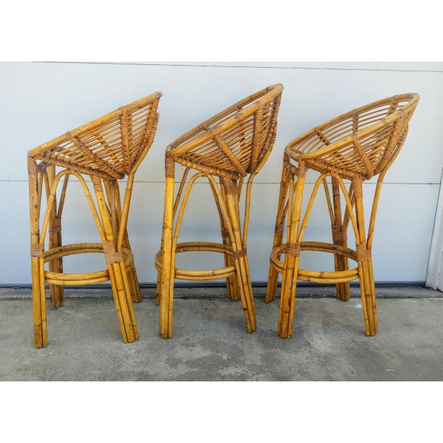 Modern 1950s Albini Style Rattan Bar Stools - Set of 3 For Sale - Image 4 of 10